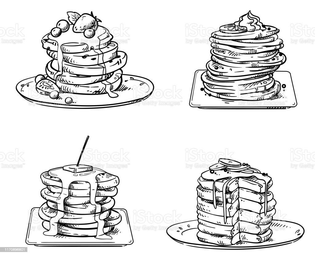 トッピング、ベクトルスケッチとおいしいパンケーキ - おやつのロイヤリティフリーベクトルアート