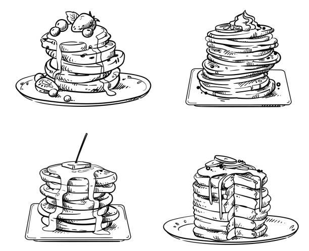 トッピング、ベクトルスケッチとおいしいパンケーキ - パンケーキ点のイラスト素材/クリップアート素材/マンガ素材/アイコン素材