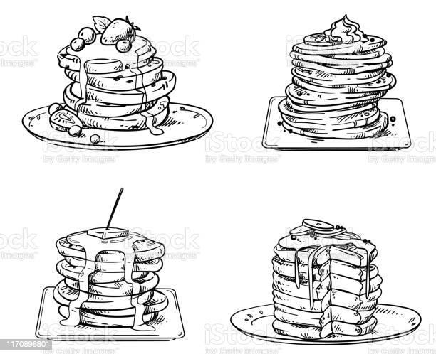 トッピングベクトルスケッチとおいしいパンケーキ - おやつのベクターアート素材や画像を多数ご用意