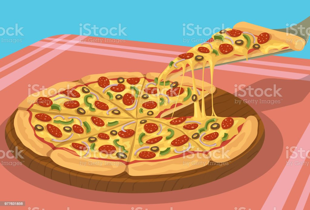 Yummy Pizza vector art illustration