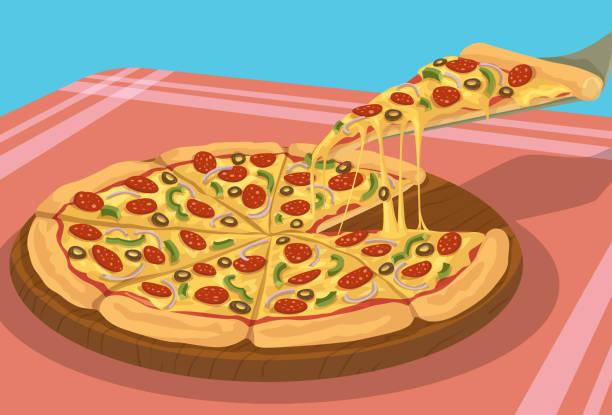 Yummy Pizza vector art illustration