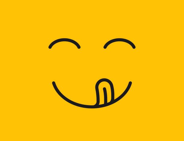 stockillustraties, clipart, cartoons en iconen met lekkere glimlach. heerlijk, smakelijk eten emoji gezicht eten met mond en tong gourmet genieten van smaak - eetklaar