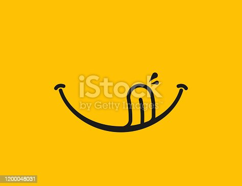 istock Yummy smile. Delicious, tasty eating emoji face eat with mouth and tongue gourmet enjoying taste 1200048031