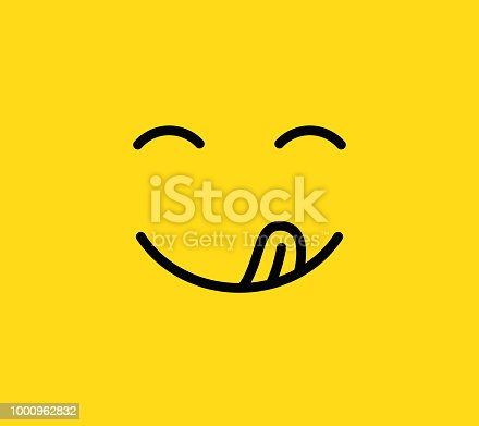 Yummy smile. Delicious, tasty eating emoji face eat with mouth and tongue gourmet enjoying taste. Funny hungry yummy tasting food mood logo line yellow vector isolated icon