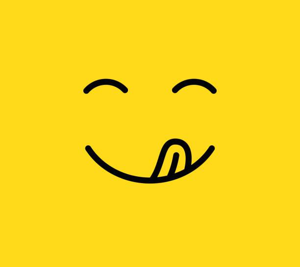 美味的微笑。美味可口, 吃 emoji 表情臉, 嘴巴和舌頭。有趣的饑餓情緒線向量圖示 - 即食口糧 幅插畫檔、美工圖案、卡通及圖標
