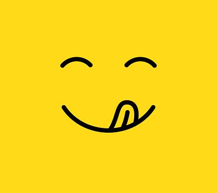 Yummy Smile Delicious Tasty Eating Emoji Face With Mouth And Tongue Funny Hungry Mood Line Vector Icon - Stockowe grafiki wektorowe i więcej obrazów Awatar