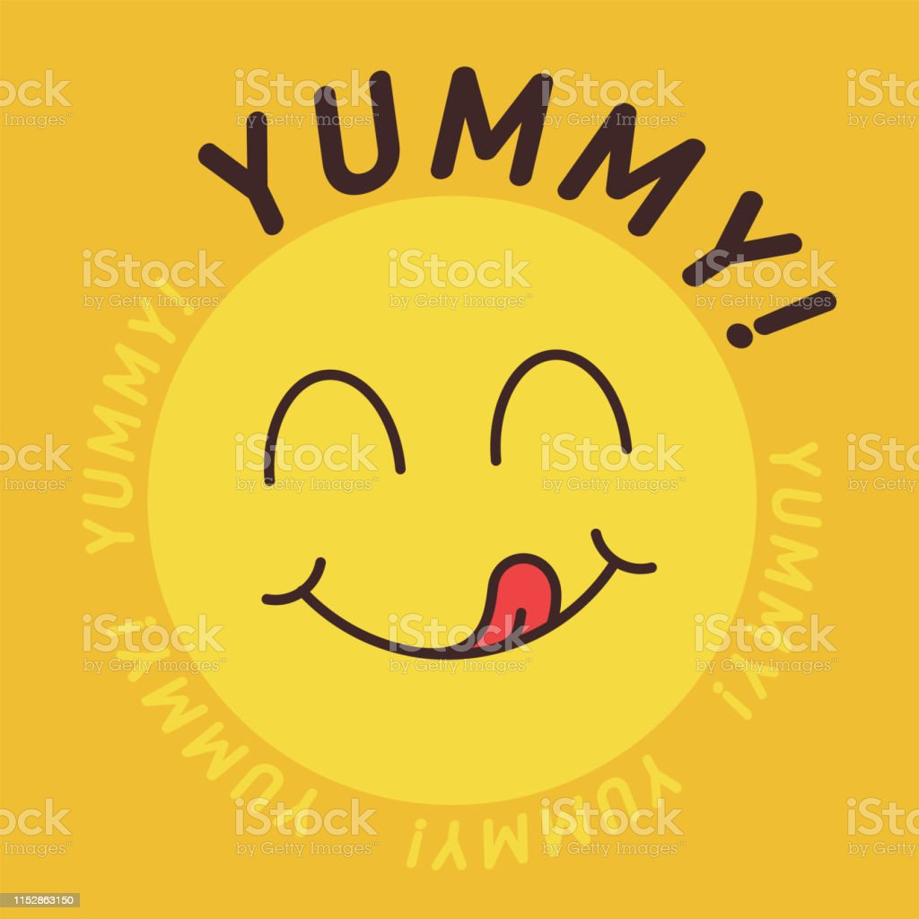Yummy Smile Emoticon With Tongue Lick Mouth Tasty Food Eating Emoji
