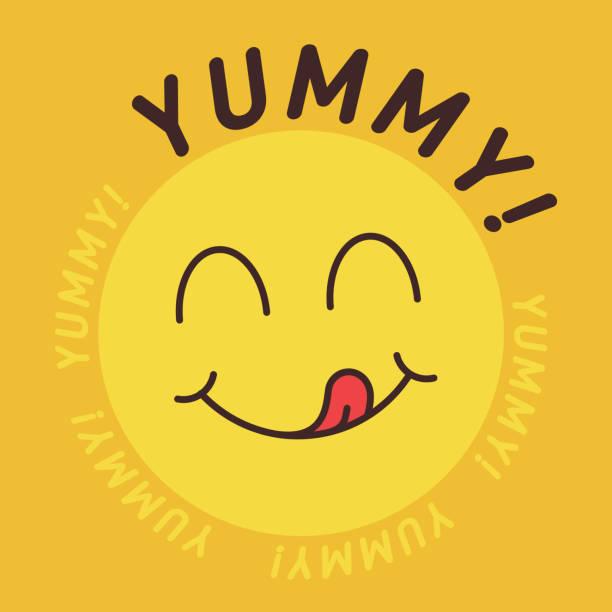 stockillustraties, clipart, cartoons en iconen met yummy glimlach emoticon met tong likken mond. smakelijk eten eten emoji gezicht. heerlijke cartoon met speeksel druppels op geel - eetklaar