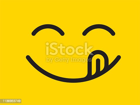 istock Yummy smile vector cartoon line emoticon with tongue lick mouth. Delicious tasty food eating emoji face on yellow design background 1136953749