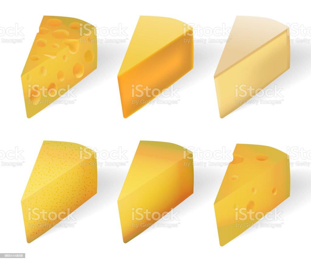 맛 있는 노란 치즈 흰색 절연. 현실적인 치즈 종류 세트 흰색 절연입니다. 벡터 일러스트 레이 션 - 로열티 프리 3차원 형태 벡터 아트