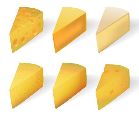 맛 있는 노란 치즈 흰색 절연 현실적인 치즈 종류 세트 흰색 절연입니다 벡터 일러스트 레이 션 3차원 형태에 대한 스톡 벡터 아트 및 기타 이미지
