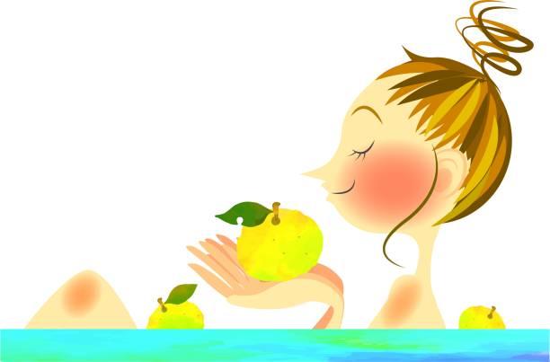 bildbanksillustrationer, clip art samt tecknat material och ikoner med yuzu-yu - japanese bath woman