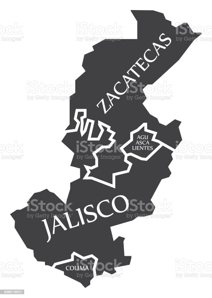 Zacatecas Aguascalientes Jalisco Colima Map Mexico Illustration