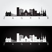 Zagreb skyline and landmarks silhouette
