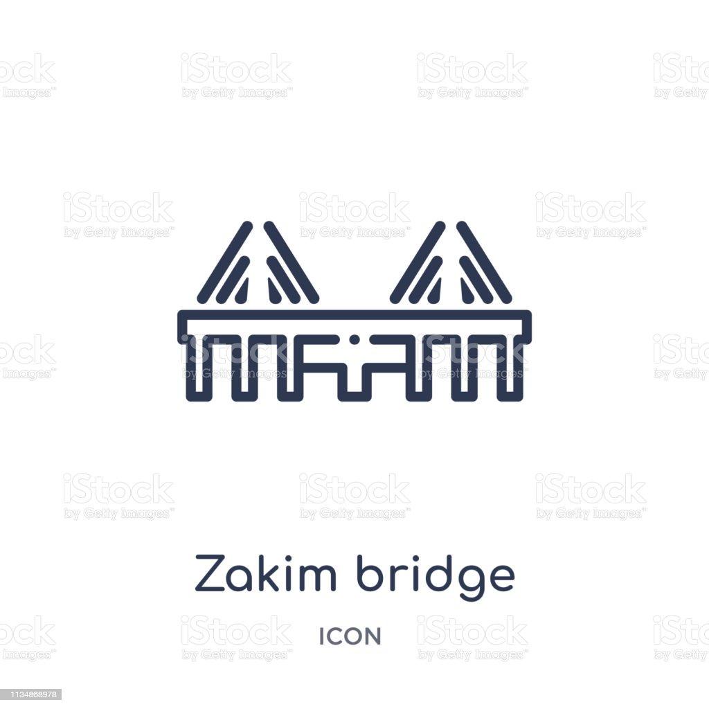 zakim bridge icon from monuments outline collection. Thin line zakim bridge icon isolated on white background.