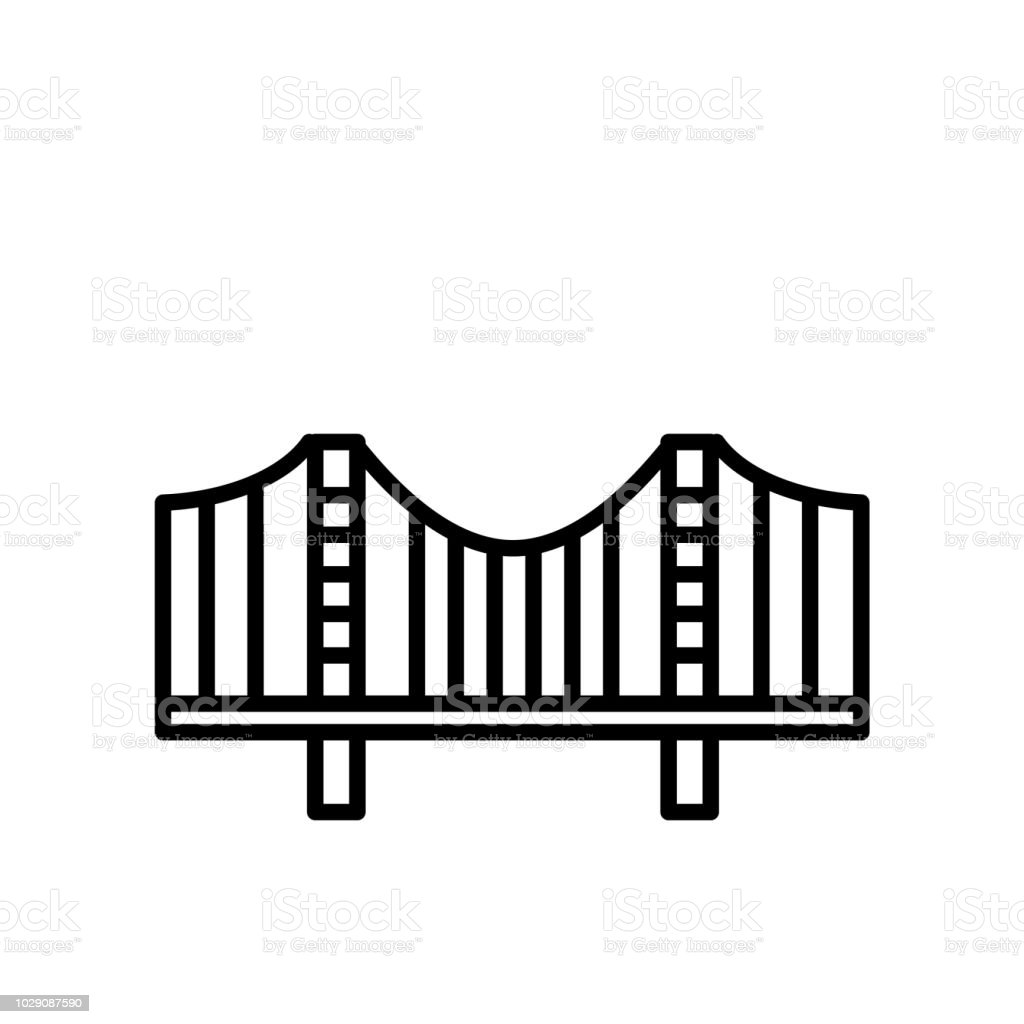 Zakim Bridge icon vector isolated on white background, Zakim Bridge sign , line or linear sign, element design in outline style