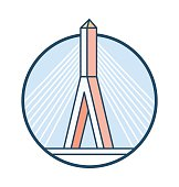 Zakim Bunker Hill Bridge Vector Icon