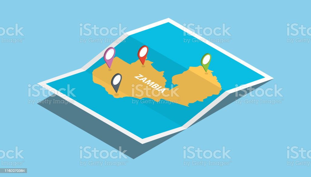 zambia africa explore maps with isometric style and pin location tag...