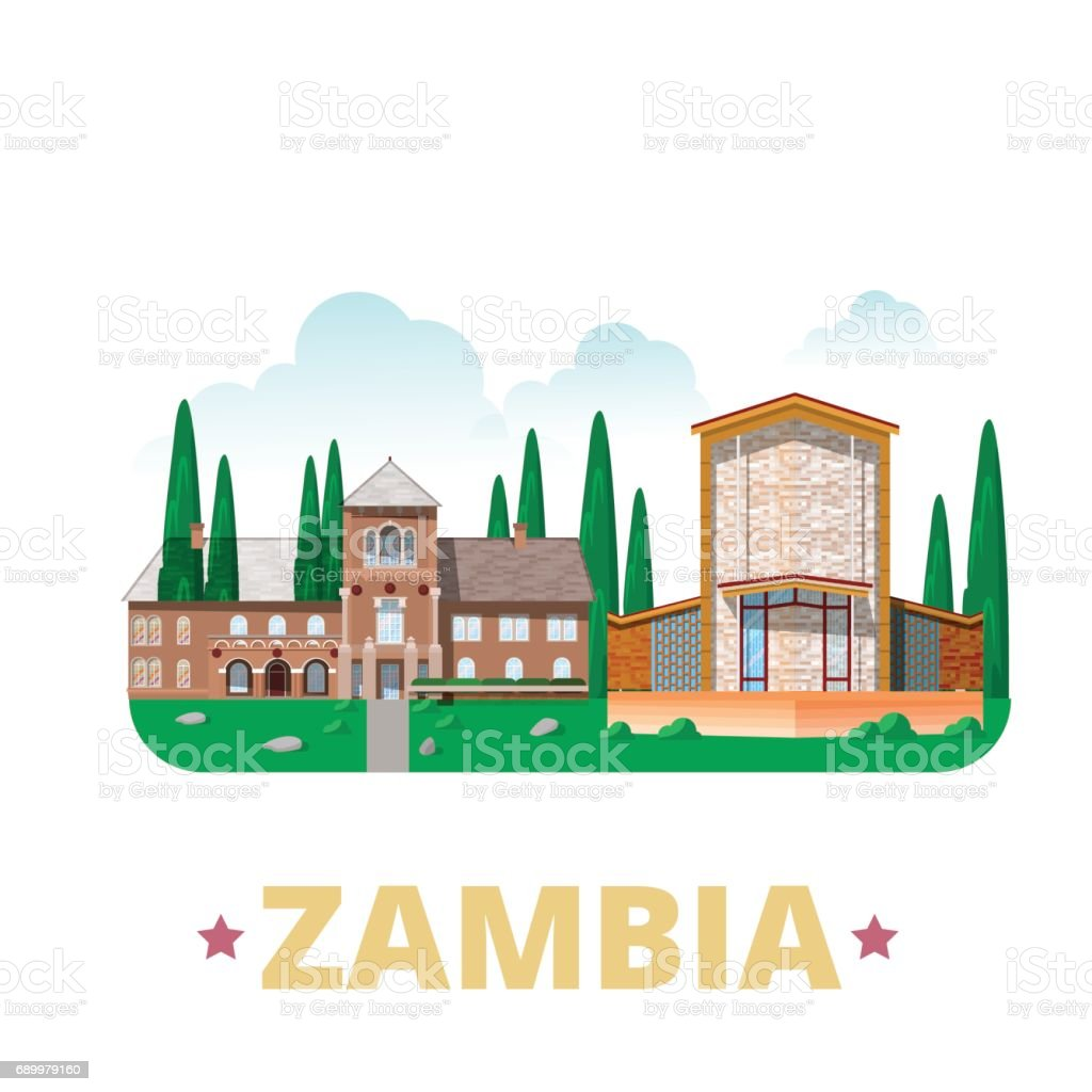 Zambia country design template flat cartoon style historic sight showplace web vector illustration world vacation travel africa african collection