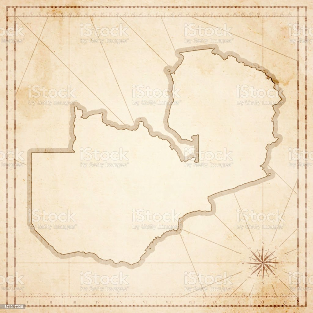Zambia Map In Retro Vintage Style