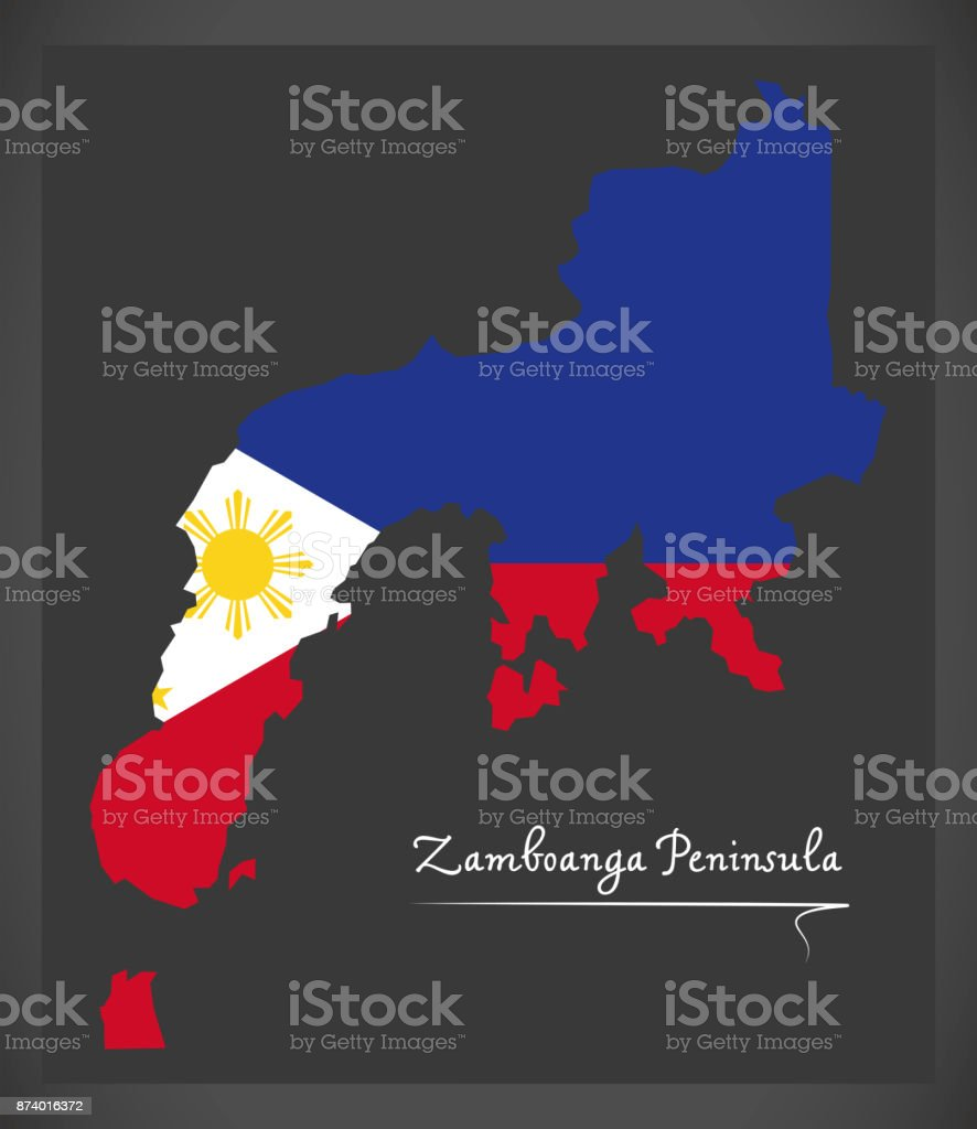 Zamboanga Peninsula map of the Philippines with Philippine national flag illustration vector art illustration