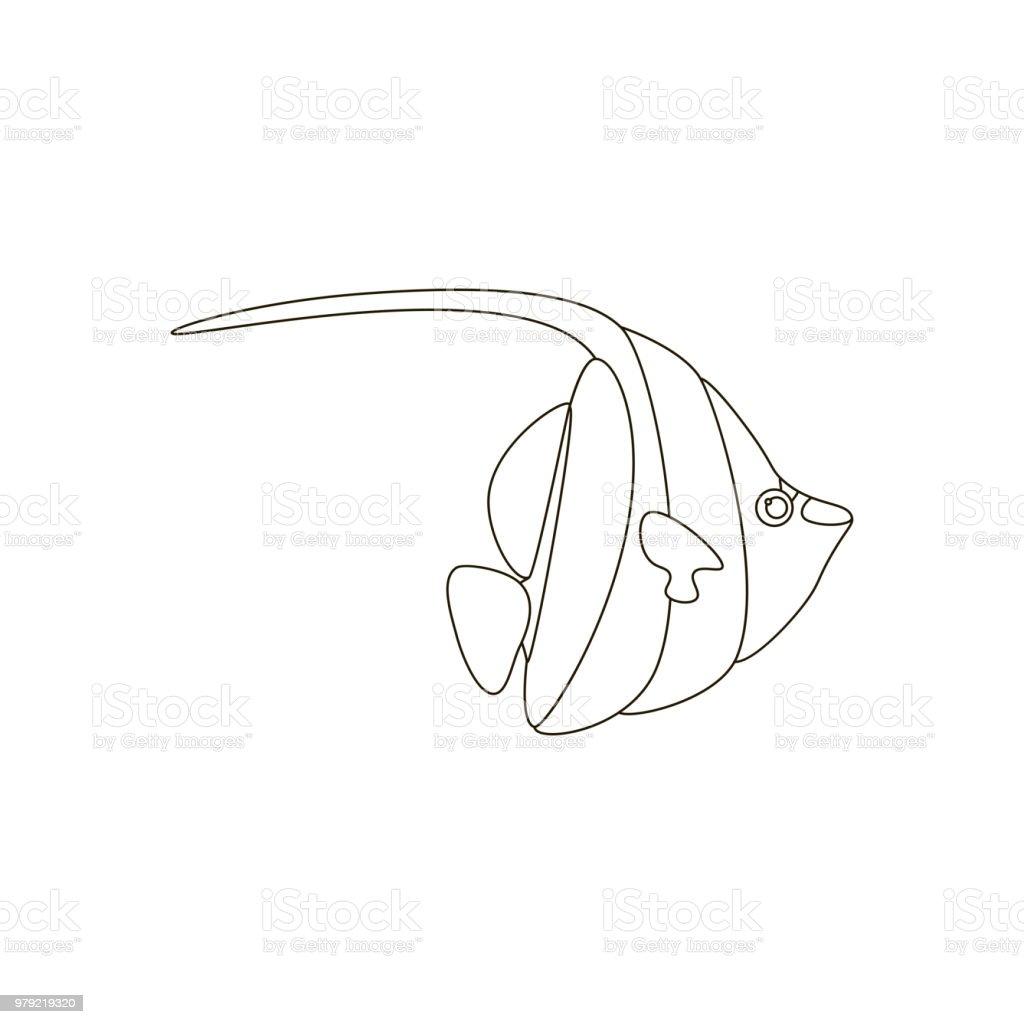 Zanclus Cornutus Balık Boyama Sayfaları Stok Vektör Sanatı