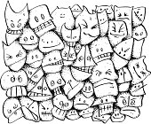 A doodle background of cute zany character faces.  Disorderly youth, monster party!  All white knocked out.