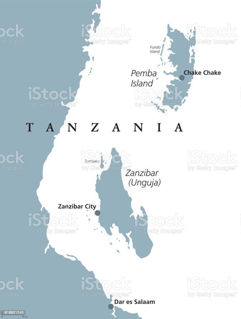 Zanzibar and pemba tanzania political map stock vector art 818931340 map world map africa austria country geographic area gumiabroncs Choice Image