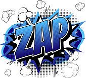 Zap - Comic book, cartoon expression.