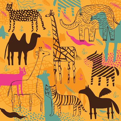 Zebra, camel, leopard, panther, elephant and giraffe pattern