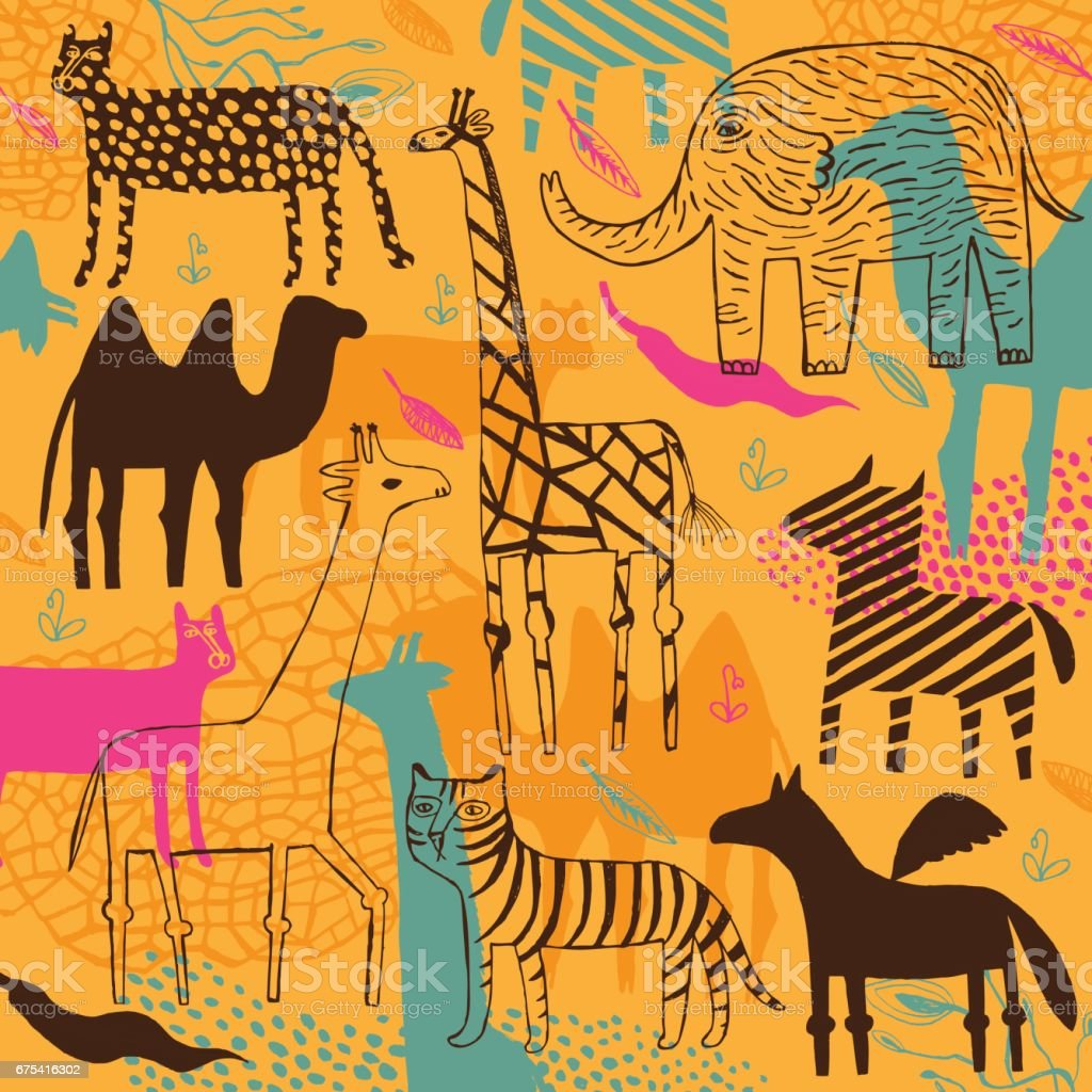 Zebra, camel, leopard, panther, elephant and giraffe pattern vector art illustration