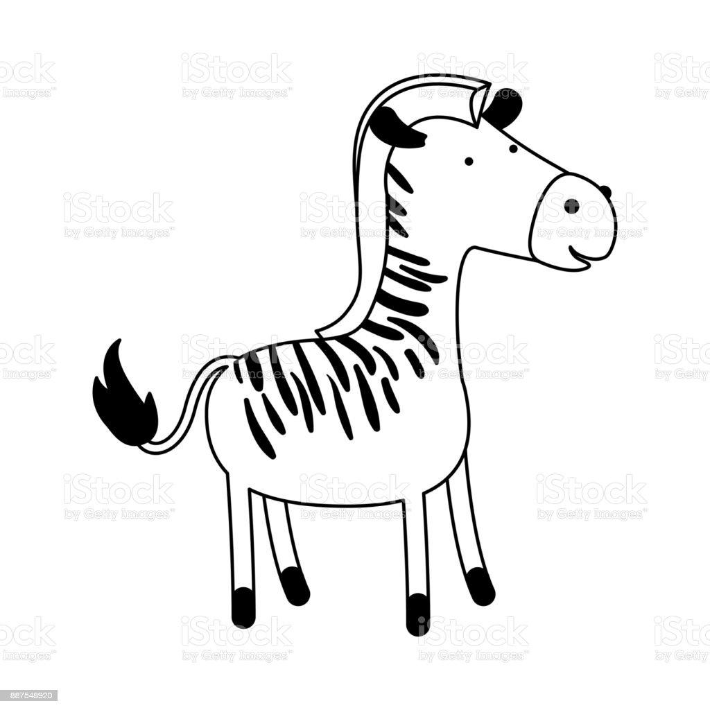 Zebra Cartoon Black Silhouette In White Background Stock Vector Art