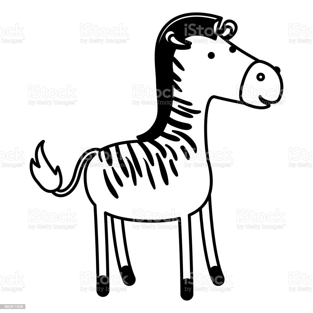 Zebra Cartoon In Black Sections Silhouette On White Background Stock