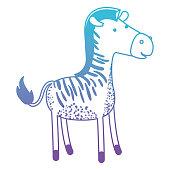 zebra cartoon in degraded blue to purple color silhouette