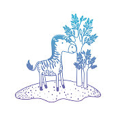 zebra cartoon in forest next to the trees in degraded blue to purple color silhouette