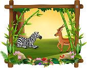 Zebra dan deer in forest frame