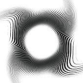 Zebra frame, Black stripes on white background, circle