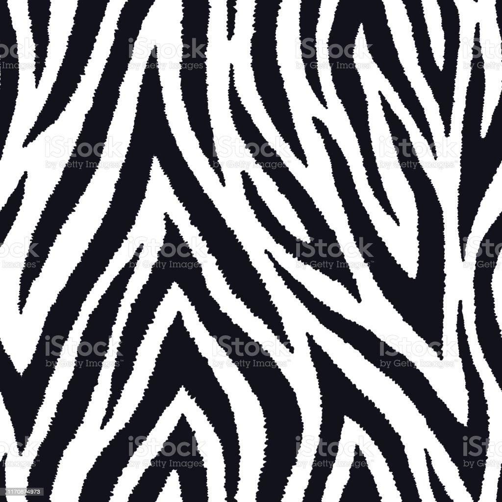 Zebra fur seamless pattern. Exotic wild animalistic texture, print. Vector wallpaper. - Royalty-free Abstrato arte vetorial