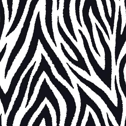 Zebra Fur Seamless Pattern Exotic Wild Animalistic Texture Print Vector Wallpaper - Arte vetorial de stock e mais imagens de Abstrato