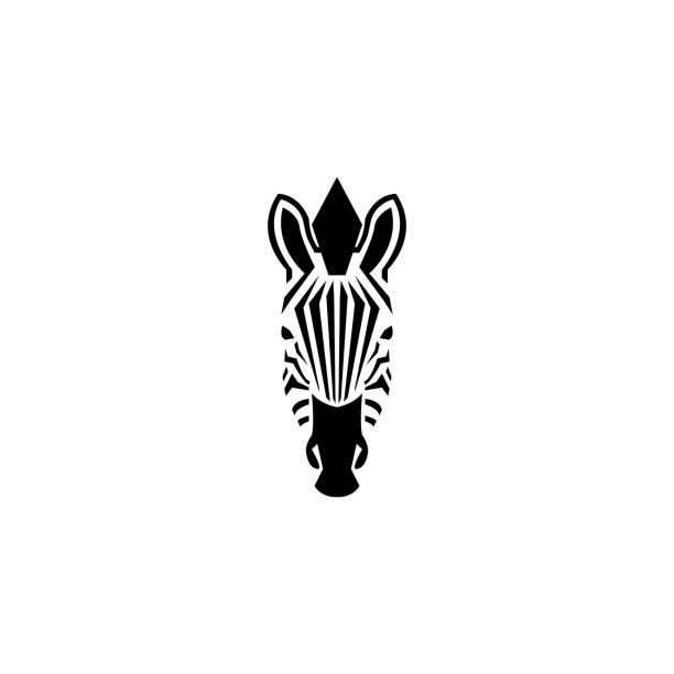 zebra kopf symbol negativraum stil illustration. vorderansicht silhouette afrikanische zebra portrait schwarz / weiß gestreifte haut typografie gestaltungselement. - zebras stock-grafiken, -clipart, -cartoons und -symbole
