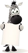 Zebra holding a large blank banner