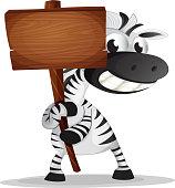 Zebra holding an empty wooden signboard