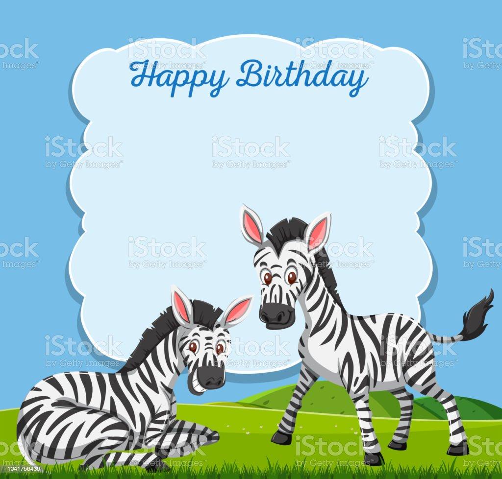 Carte Anniversaire Zebre.Zebre Sur La Carte De Joyeux Anniversaire Vecteurs Libres De