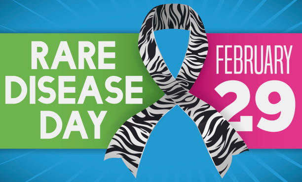 zebra pattern in ribbon with labels for rare disease day - leap year stock illustrations