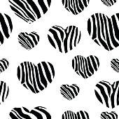 Zebra print hearts.