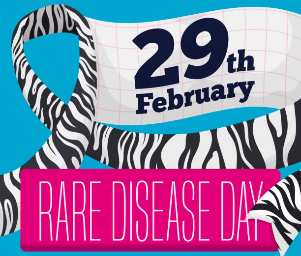zebra ribbon with reminder to celebrate rare disease day - leap year stock illustrations