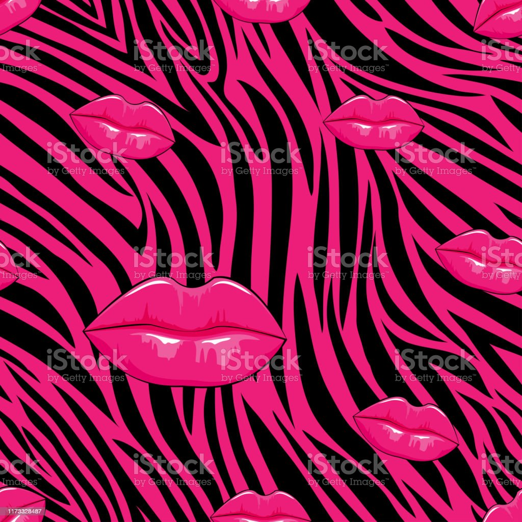 Zebra Seamless Pattern In Abstract Style With Hot Pink Lips With