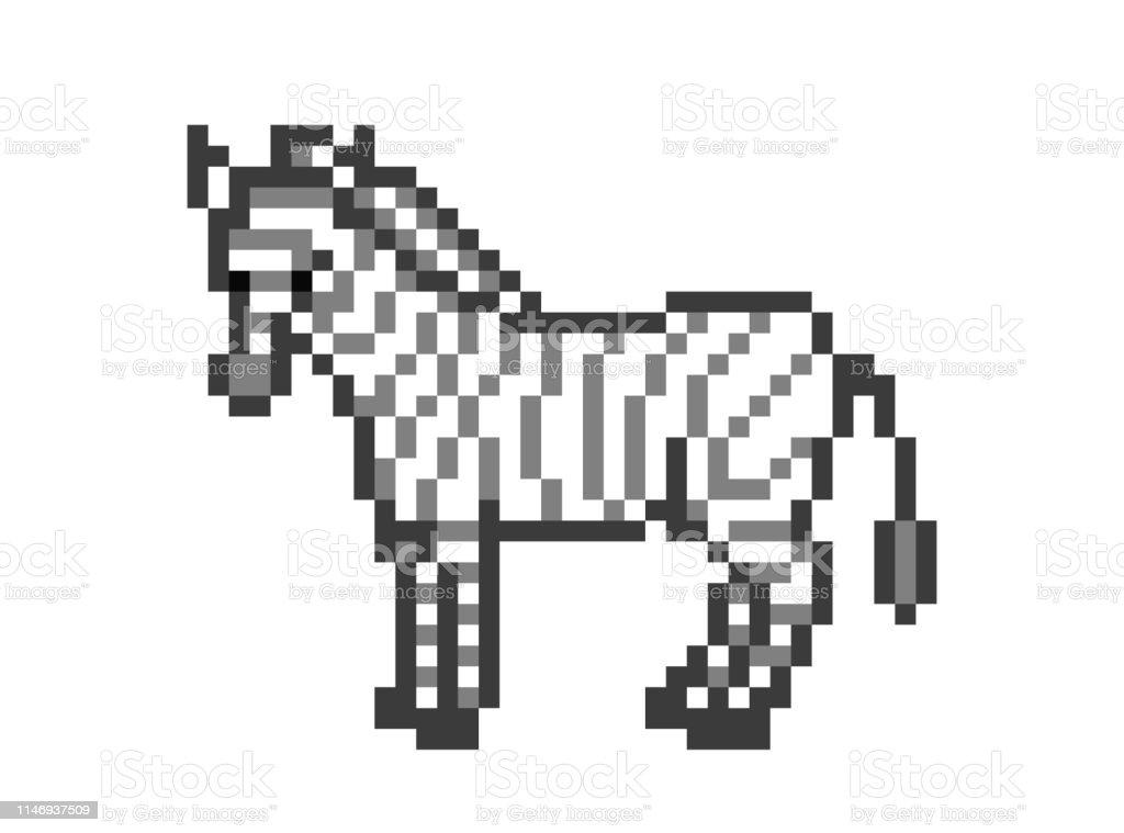 Zèbre Debout Sur Le Sol 8 Bit Pixel Art Caractère Isolé Sur