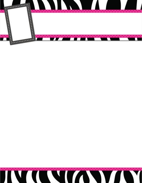 Zebra stripe black and pink frame vector art illustration