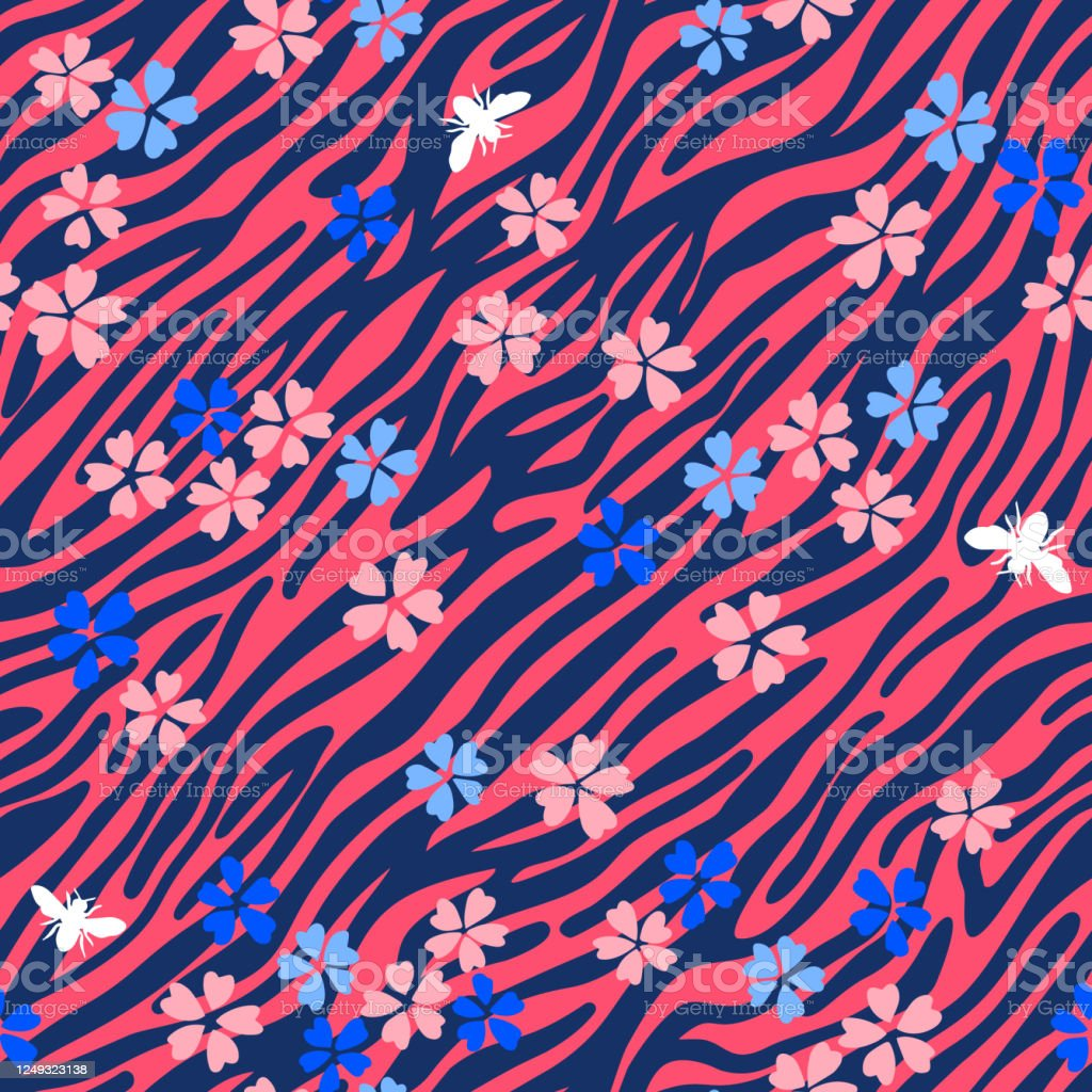 Zebra Striped Lines Fur Skin Print Texture Seamless Pattern Animal Background Mixed With Wildflowers Abstract Curved Lines Ornament Geometric Shapes Good For Textile Fabric Fashion Design Stock Illustration Download Image Now